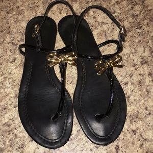 KATE SPADE TRACIE gold Bow Black Sandals sz 8.5 M